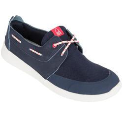 100 女士航海皮革帆船鞋 深藍色