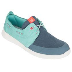女士航海皮革帆船鞋 100 深藍色/土耳其綠