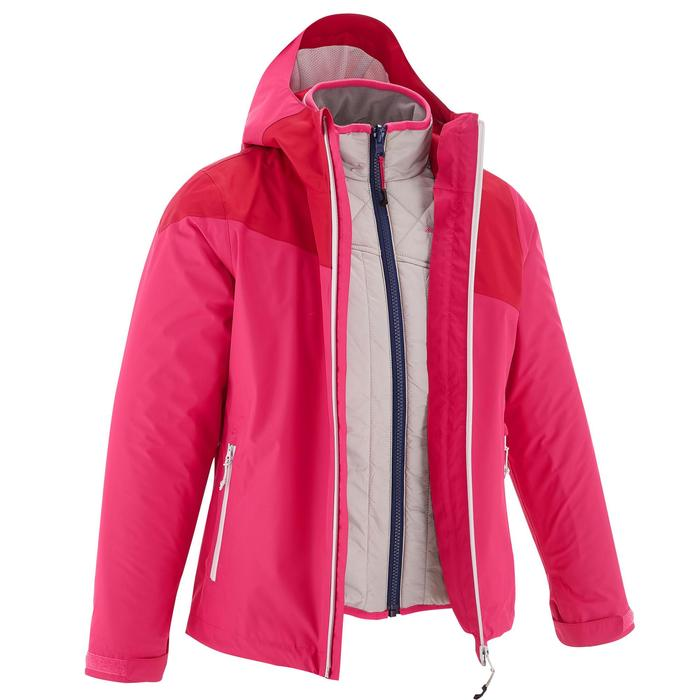 Veste chaude imperméable de randonnée Fille Hike 900 3en1 - 1201627