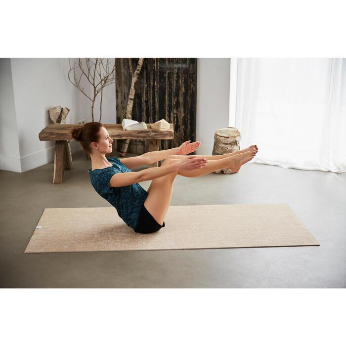 T shirt yoga doux femme en coton issu de l'agriculture biologique noir - 1201655