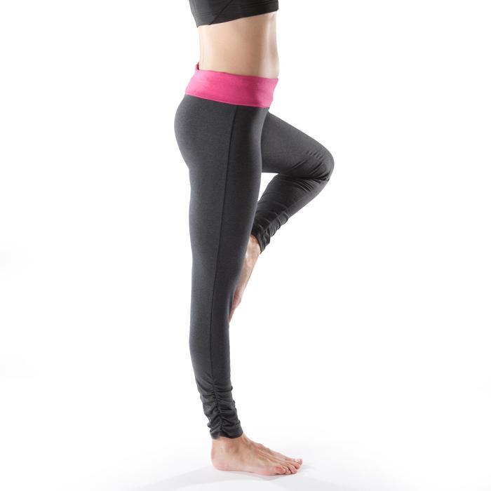 Legging yoga femme coton issu de l'agriculture biologique noir / gris chiné - 1201682