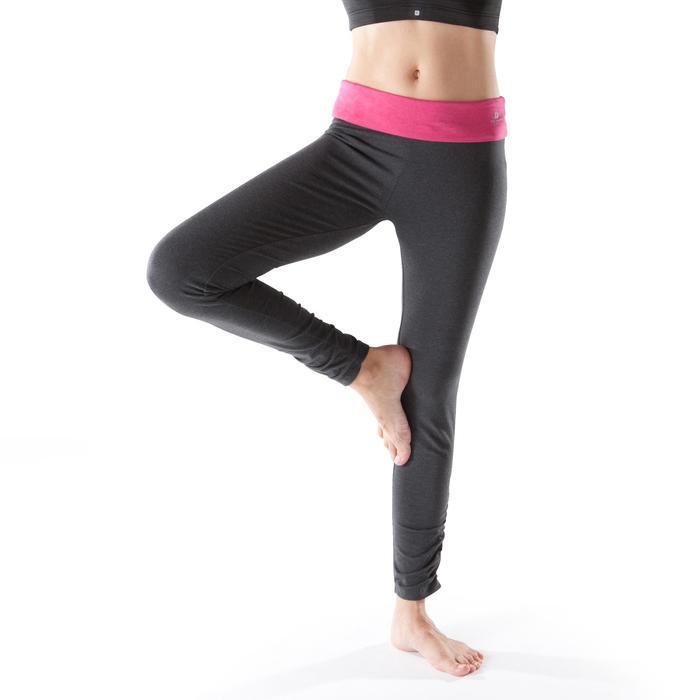Legging yoga femme coton issu de l'agriculture biologique noir / gris chiné - 1201698