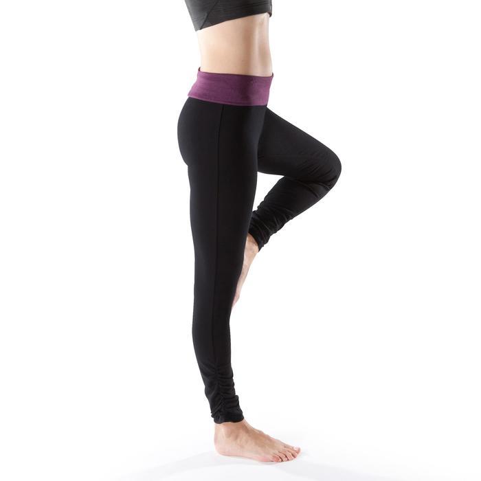 Legging yoga femme coton issu de l'agriculture biologique noir / gris chiné - 1201716