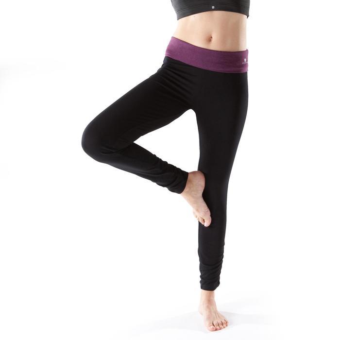 Legging yoga femme coton issu de l'agriculture biologique noir / gris chiné - 1201721