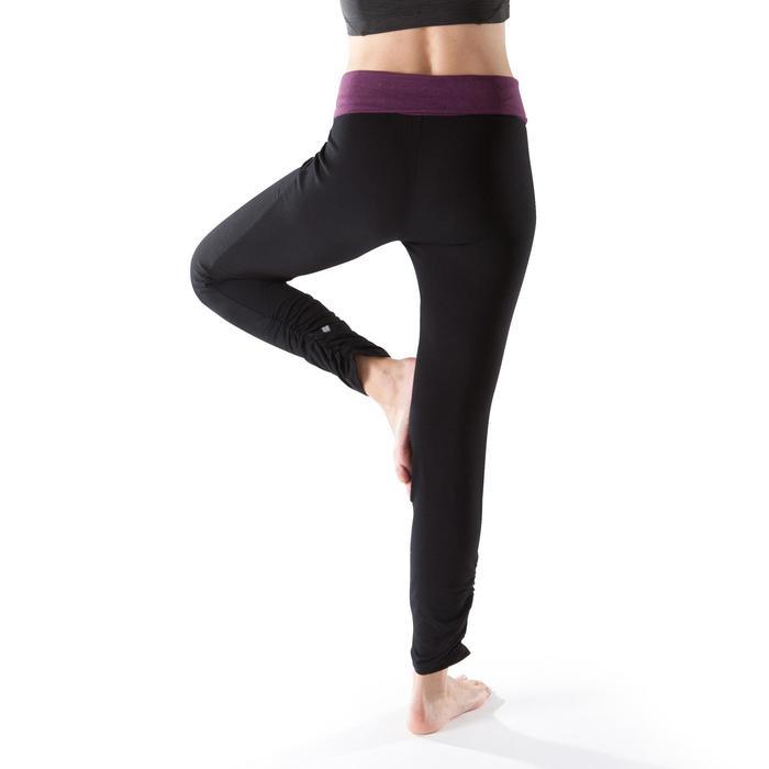 Legging yoga femme coton issu de l'agriculture biologique noir / gris chiné - 1201730