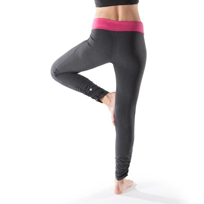 Legging yoga femme coton issu de l'agriculture biologique noir / gris chiné - 1201731