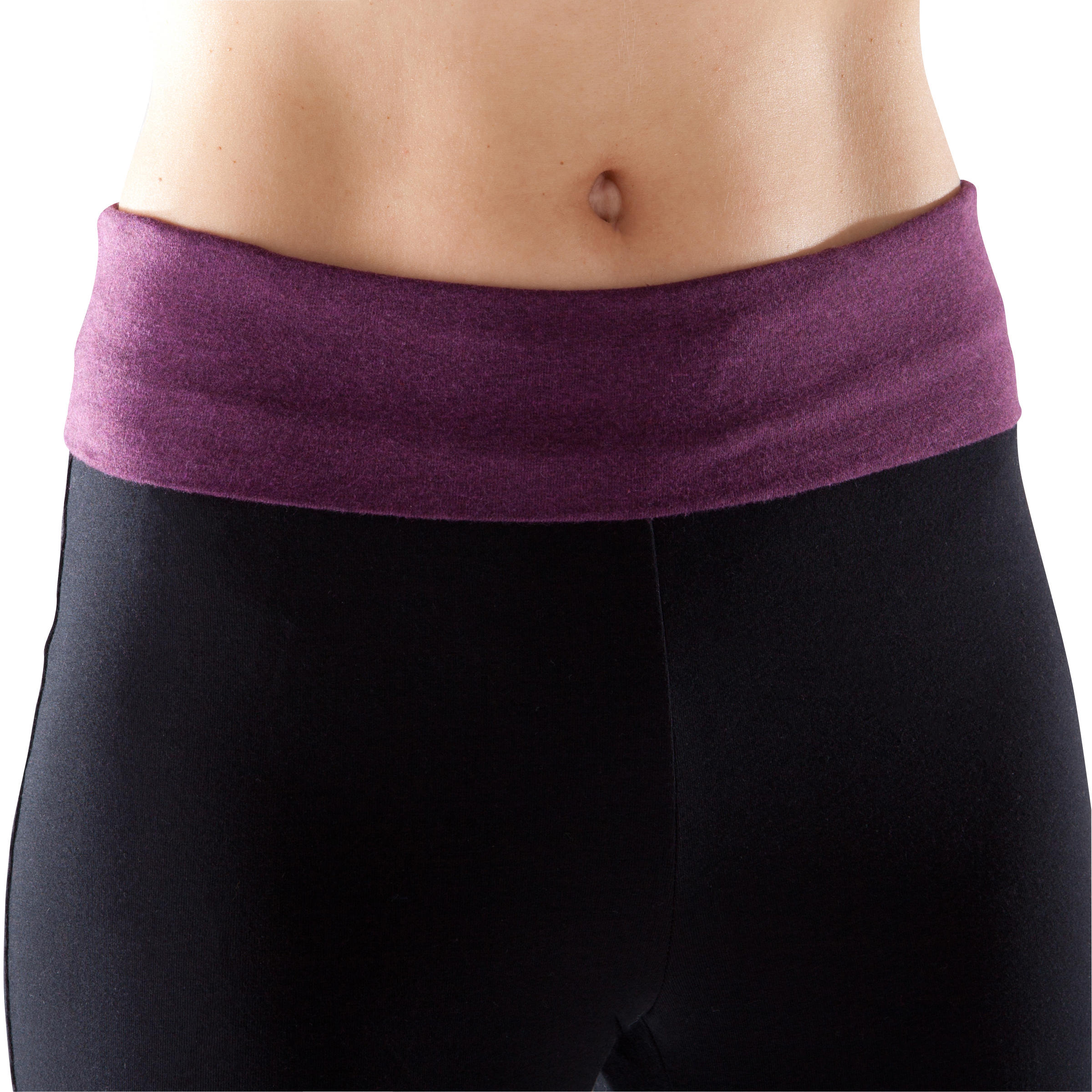 Women's Organic Cotton Gentle Yoga Cropped Bottoms - Black/Heathered Burgundy
