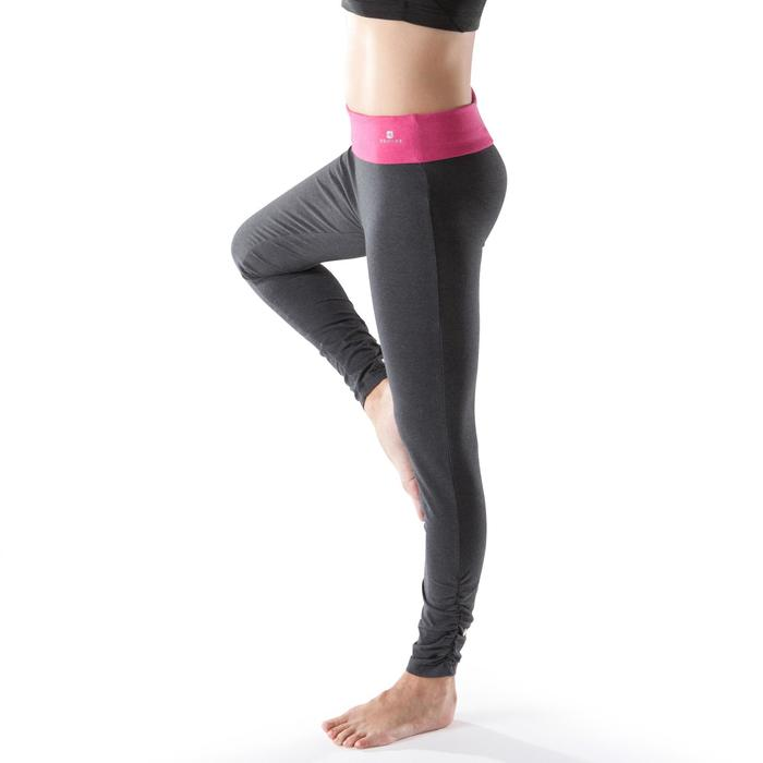 Legging yoga femme coton issu de l'agriculture biologique noir / gris chiné - 1201757