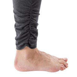 Leggings yoga mujer algodón de cultivo biológico gris moteado / rosa