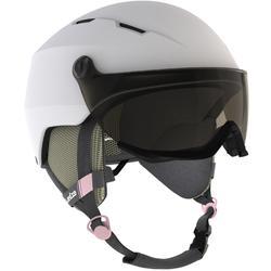 Casque de ski à visière mauvais temps (S1) adulte H350 blanc.