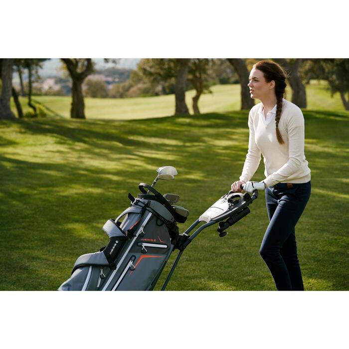 Golftrui voor dames zacht weer gemêleerd bordeaux