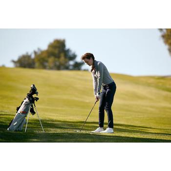 Golfpolo met lange mouwen voor dames zacht weer gemêleerd grijs