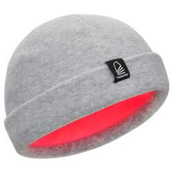 Gorro náutico de fibra polar gris claro / rosa