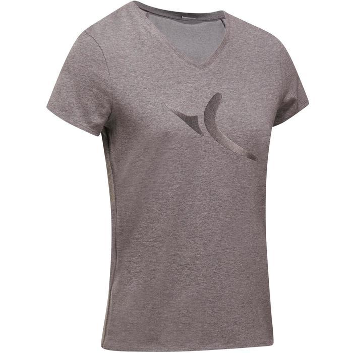 Dames T-shirt met korte mouwen voor gym en pilates gemêleerd - 1202591