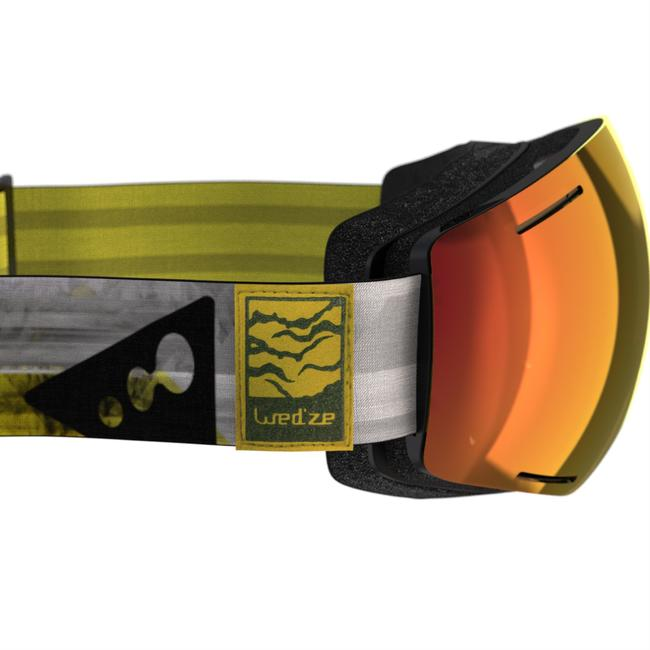 KIDS' AND ADULT SKIING AND SNOWBOARDING MASK G 520 - GOOD WEATHER YELLOW