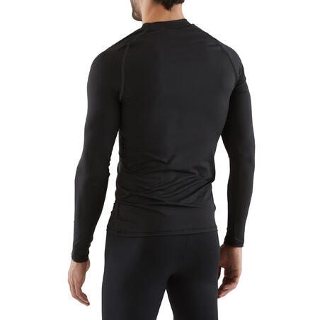 Men's Football Long-Sleeved Base Layer Top Keepdry 100 - Black