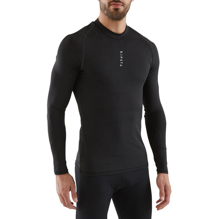 Camiseta térmica transpirable de manga larga para adulto Keepdry 100 negra