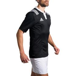 Maillot rugby adulte Adidas 3S noir blanc