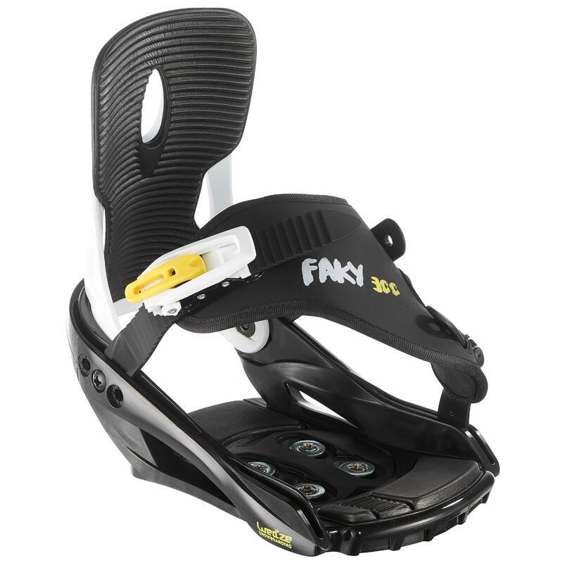Fixations de planche à neige junior, Faky 300 noires, blanches et jaunes