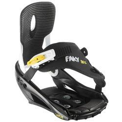 青少年單板滑雪板固定器Faky 300 - 黑色、白色與黃色