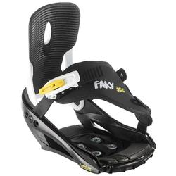 Junior snowboard bindings, Faky 300 Black, White and Yellow