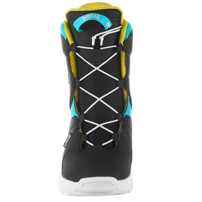 Chaussures de snowboard enfant, Indy 100 Fast Lock noires, bleues et jaunes