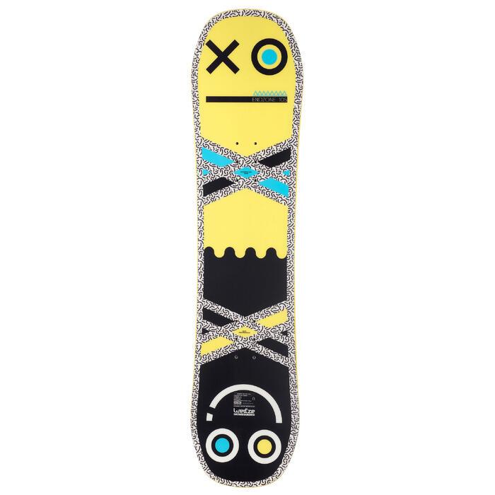 All-mountain freestyle snowboard Endzone voor kinderen 105 cm geel zwart blauw