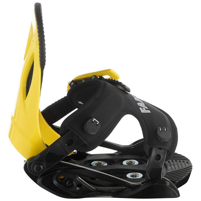 Fixations de snowboard junior, Faky 100, noires, jaunes et bleues