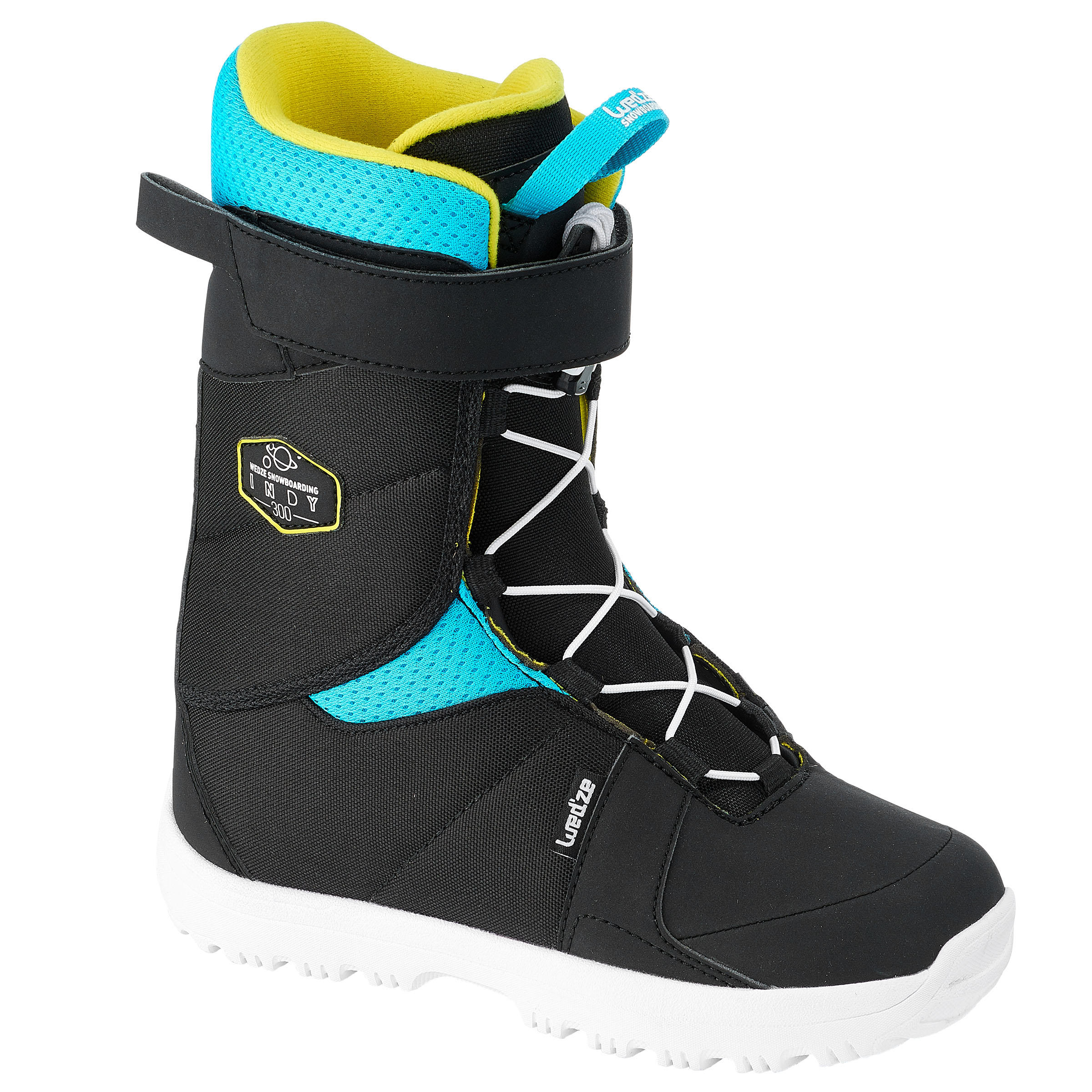 Wed'ze Snowboardboots voor kinderen Indy 300 Fast Lock 2Z zwart/blauw/geel thumbnail