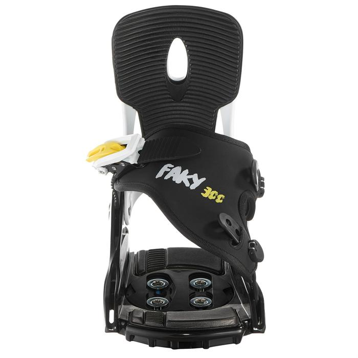 Fixations de snowboard, junior, Faky 300  noires, blanches et jaunes - 1203046