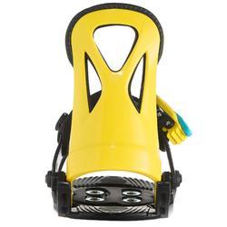 青少年單板滑雪板固定器Faky 100 - 黑色、黃色與藍色