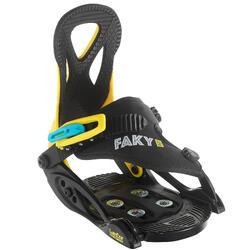 Snowboardbindingen kinderen Faky 100 zwart/geel/blauw