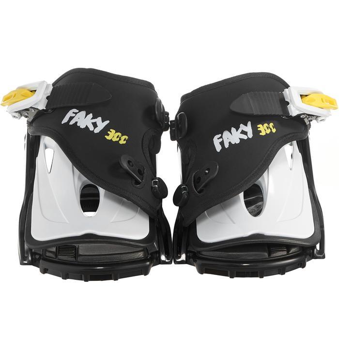 Fixations de snowboard junior, Faky 300 noires, blanches et jaunes