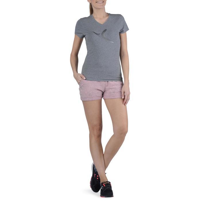 Dames T-shirt met korte mouwen voor gym en pilates gemêleerd - 1203156