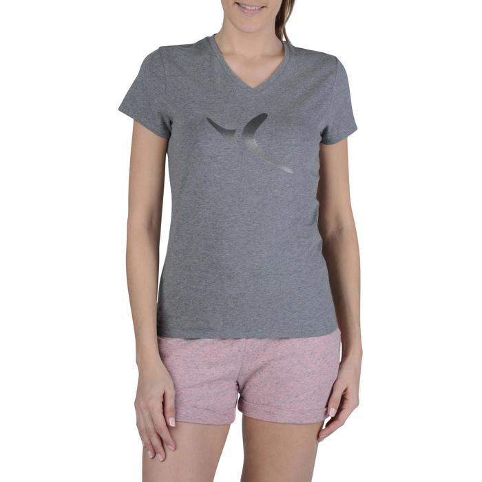 Dames T-shirt met korte mouwen voor gym en pilates gemêleerd - 1203169