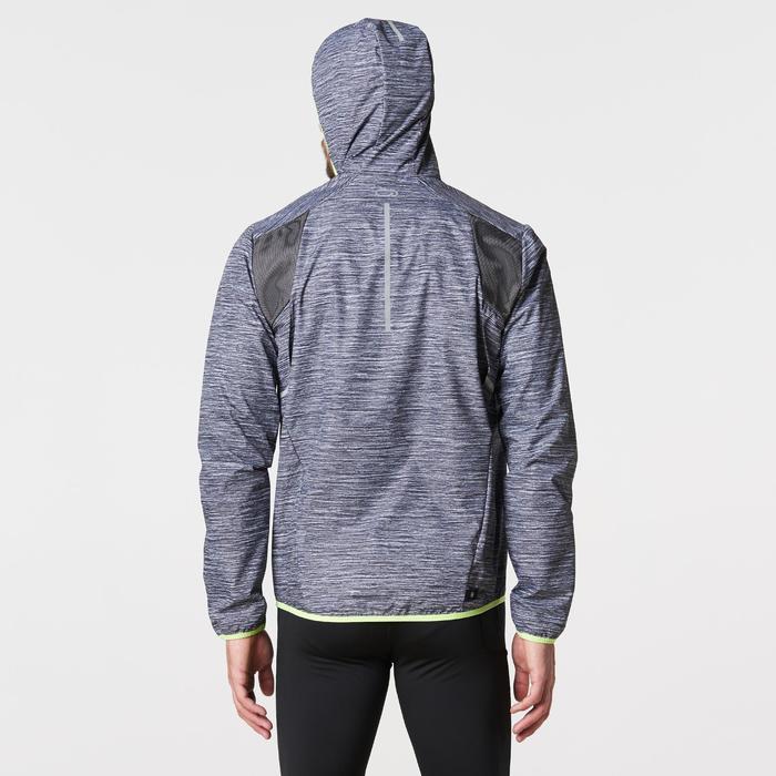 Lauf-Regenjacke Run Rain reflektierend Herren grau