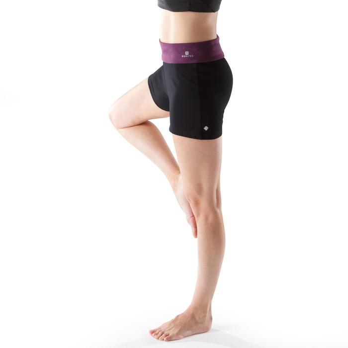 Yogashort voor dames biokatoen zwart/gemêleerd bordeaux