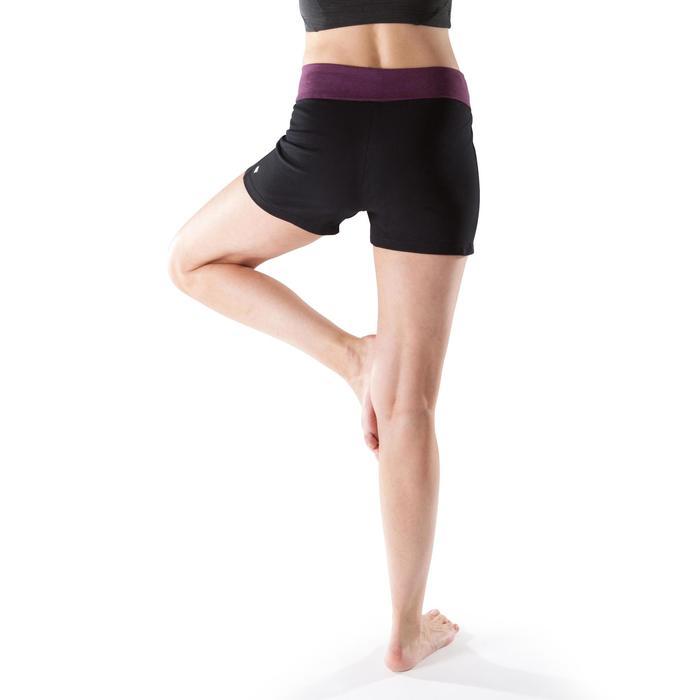Short yoga femme coton issu de l'agriculture biologique noir bordeaux chiné
