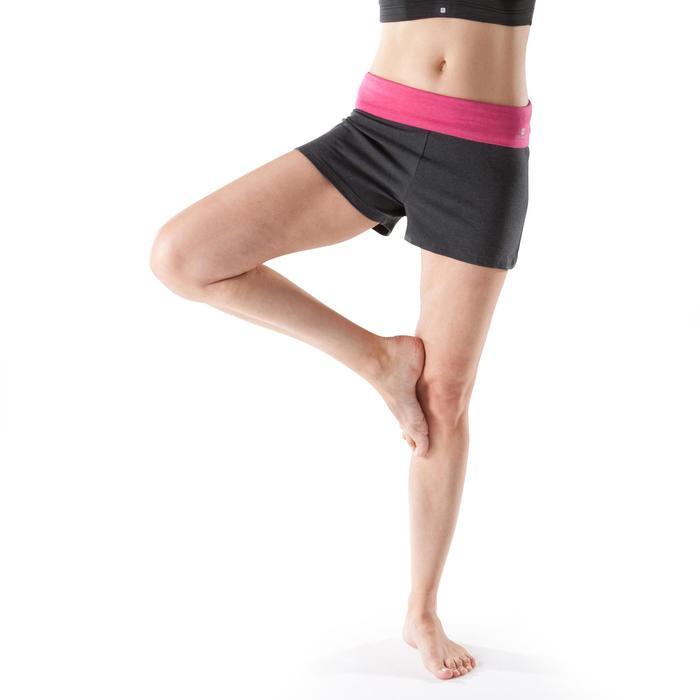 Sporthose kurz Yoga weich Damen grau rosa