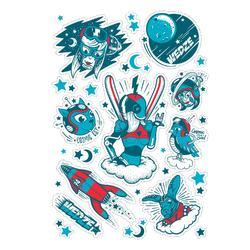 Aufkleber für Ski- und Snowboardhelme blau rot.