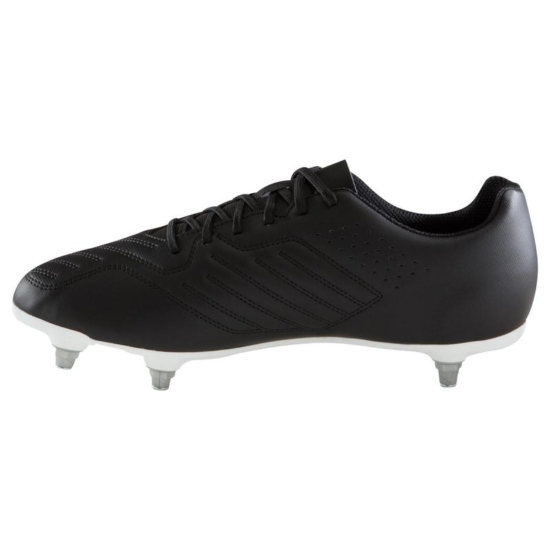Chaussures Chaussure de football adulte terrain gras Agility 100 SG noire blanche