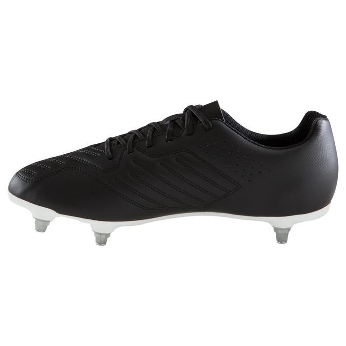 Chaussure de football adulte terrain gras Agility 100 SG noire blanche
