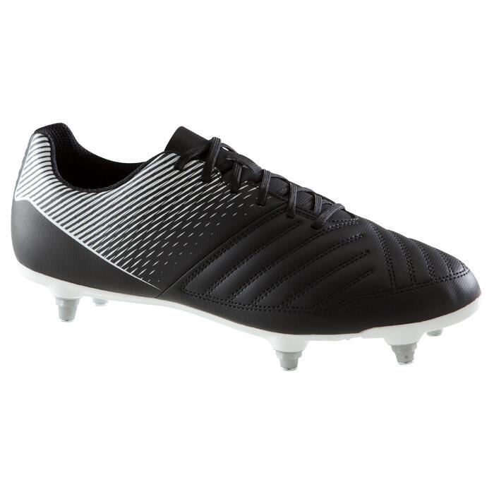 Chaussure de football adulte terrains gras Agility 100 SG noire blanche