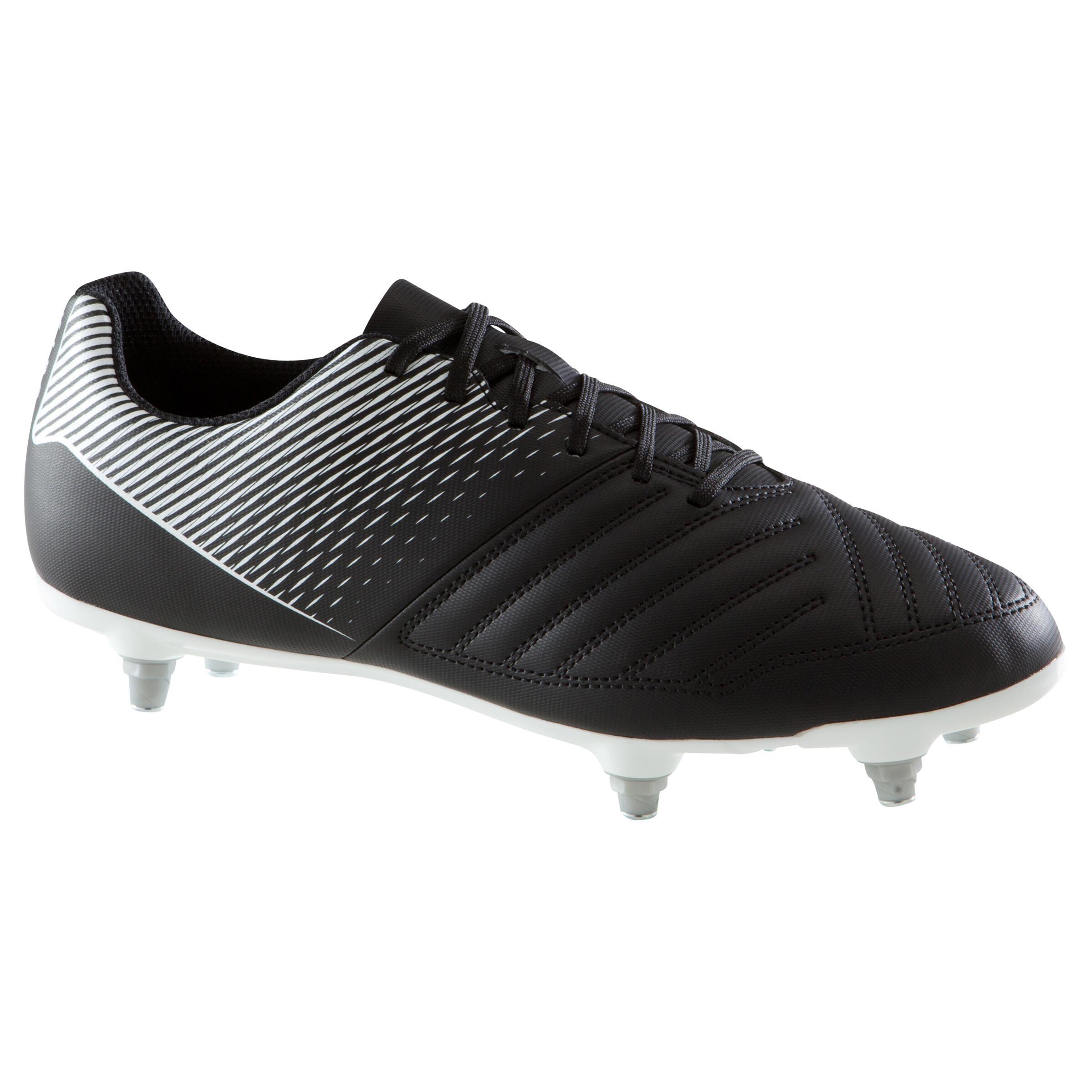 Fußballschuhe Agility 100 SG weicher Boden Erwachsene schwarz/weiß | Schuhe > Sportschuhe > Fußballschuhe | Kipsta