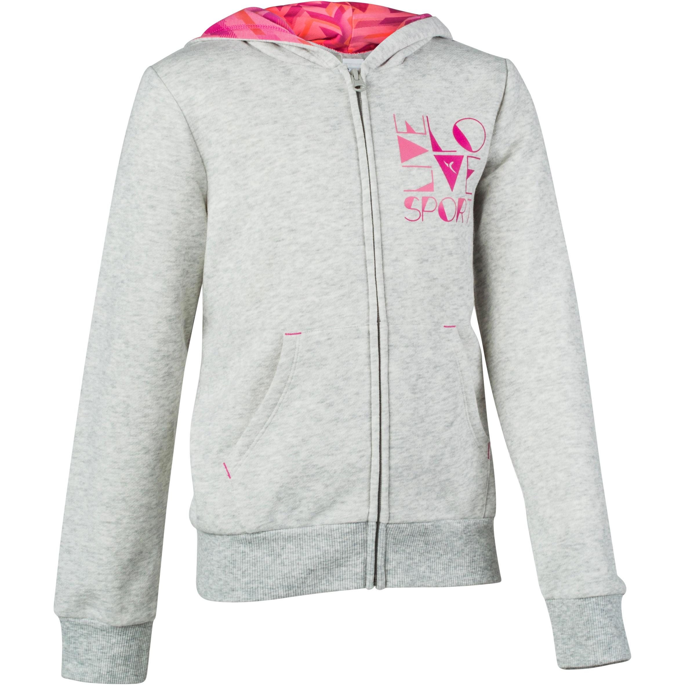Domyos Warme gym hoodie met rits voor meisjes thumbnail