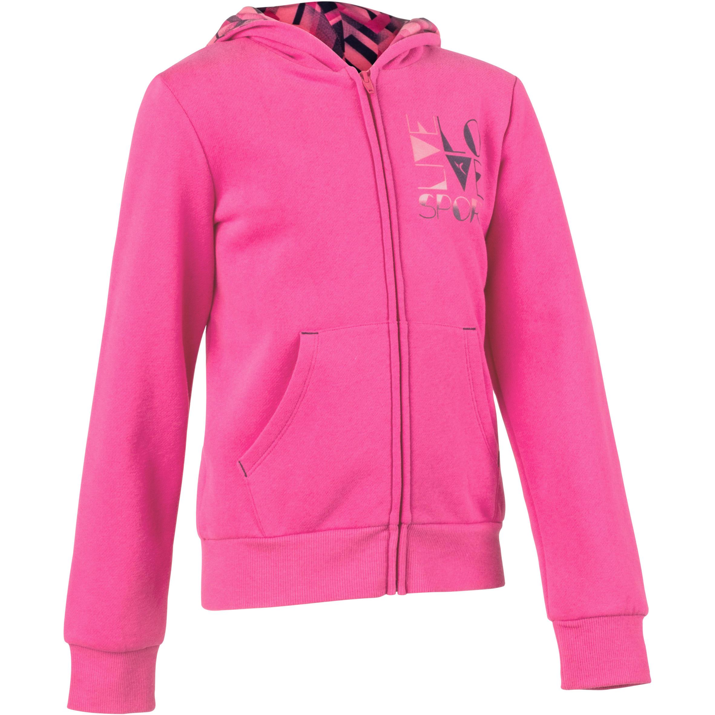 Chamarra 500 gimnasia niña capucha estampado rosa