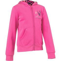Hoodie 500 Gym meisjes roze met opdruk