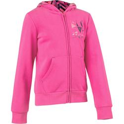 Veste 500 Gym Fille capuche imprimé rose