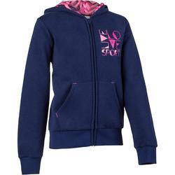 500 Girls' Hooded Gym Jacket - Grey Print