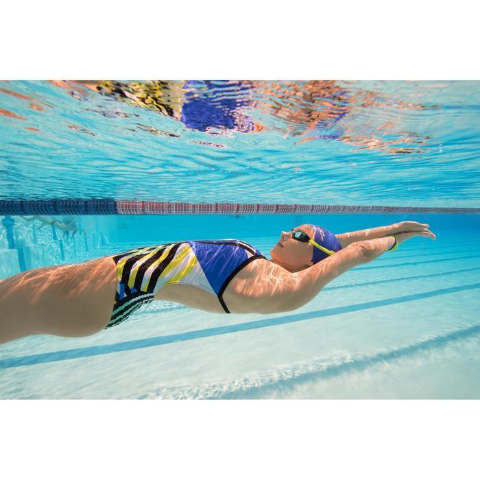 Bañador de natación una pieza para mujer resistente al cloro, Lidia blanco